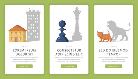 Personal growth, self-improvement and personal coach vector mobile app screens. Pawn dropping shadow of queen, cat become lion and small house become skyscraper flat illustrations with text.