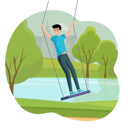 Boy swinging flat illustration. Boy having fun outdoor in the city park near the lake vector concept.
