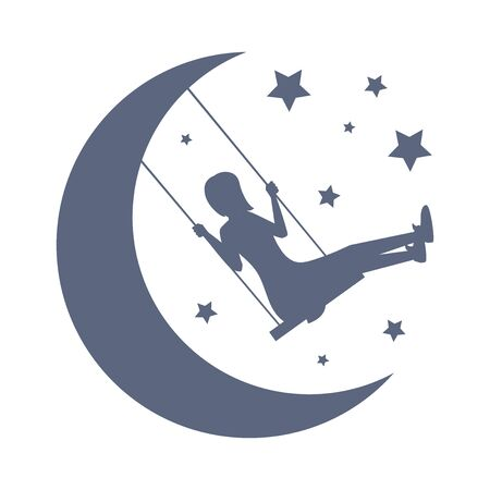 Good night and sweet dreams vector card template. Silhouette of girl swinging among the moon and stars.