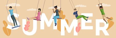 Summer word banner template. People swinging on rope swings flat illustration.