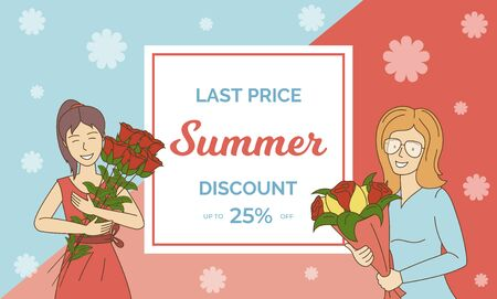 Summer sale vector banner template with text space. Special offer, discount flyer design concept.