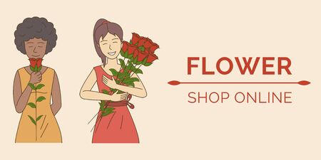 Flower shop poster template. Online shopping, gardening, flower day, women day banner design concept.