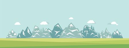 Mountain landscape vector flat illustration. Nature, clouds, grass and mountains suburban view. Active lifestyle, traveling, living on nature outdoor, camping, hiking on mount hill background. 向量圖像