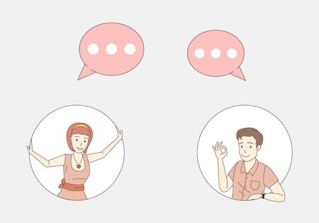 Woman and man exchanging messages vector cartoon outline illustration. Friends, colleagues, office workers conversation.