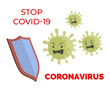 Stop Covid-19 flat banner concept. Coronavirus cells stopped by knight shield vector flat illustration.