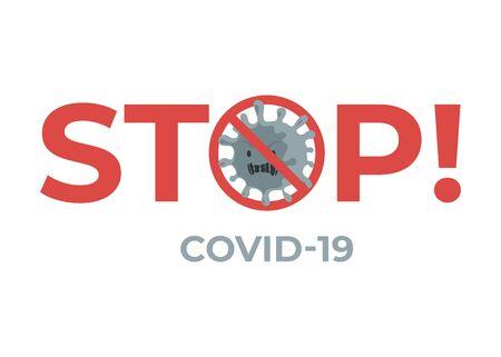 Stop virus COVID-19 flat banner concept. Novel coronavirus outbreak and global pandemic.