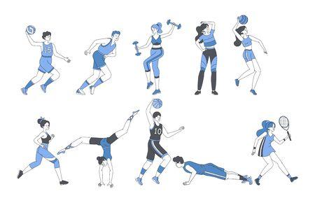 Junge Leute, die sportliches Fitnesstraining machen oder Sportspiele spielen. Glückliche Männer und Frauen in Sportanzügen mit Sportausrüstungstraining und Ausübung von Vektorgrafiken. Vektorgrafik