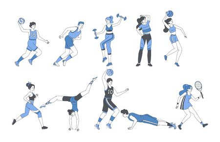 Young people doing sport activities fitness workout or playing sport games. Happy men and women in sport suits with sport equipment training and exercising vector cartoon outline illustration.