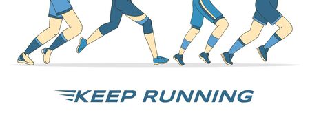 Keep training vector banner template. Running feet in sportswear and sneakers vector cartoon outline illustration.
