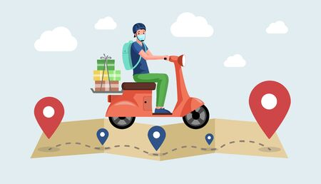 Courier or volunteer in face mask drive motorbike and deliver products from supermarket. Illustration