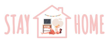 Stay home banner design. Mother with child doing sport at living room vector flat cartoon illustration.