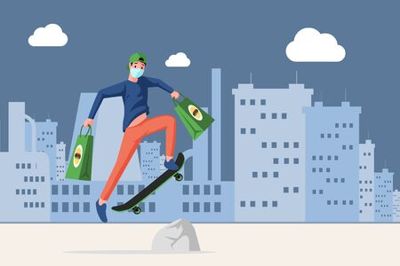 Man in face mask holding bags with fast food and riding on skateboard in the city vector flat cartoon illustration.
