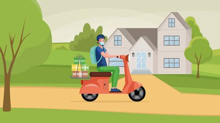 Man in face mask drive motorbike and deliver goods from shop vector cartoon illustration.
