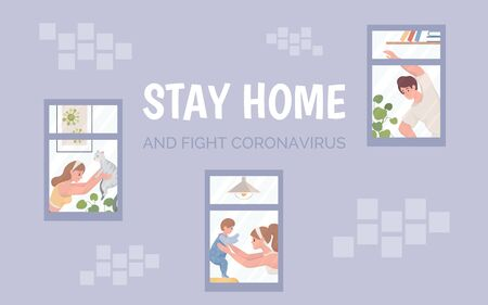 Stay home and fight coronavirus vector banner. Healthy lifestyle in quarantine poster template.