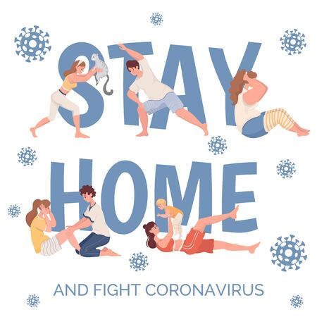 Stay home and fight coronavirus vector poster template. People practicing sport exercises flat cartoon illustration.