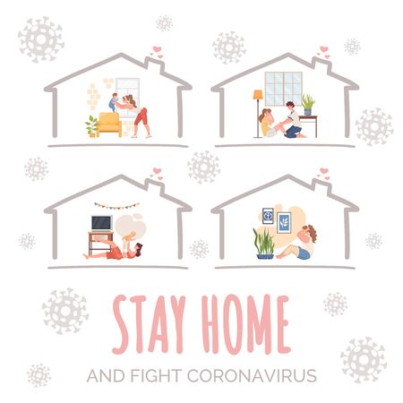 Stay home and fight coronavirus vector banner concept. Young people in sport clothes doing sport exercises. Vectores