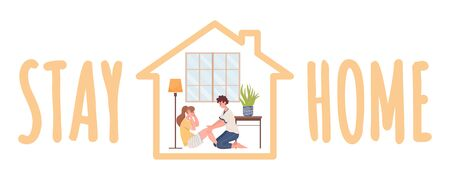 Stay home vector banner template. Couple practicing sport at home during coronavirus pandemic flat cartoon illustration.