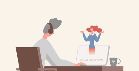 Online assistant flat illustration. Young man sitting at the table in front of computer with an earpiece on head.