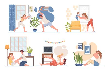 People doing sport at home vector flat illustration. Fitness workout in the living room during coronavirus outbreak.