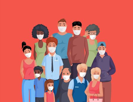 Multiracial and multicultural group of people standing together and wearing face masks flat cartoon illustration.