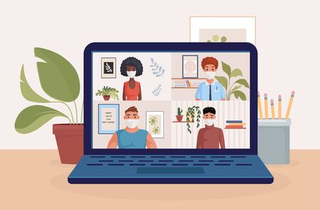 People on laptop screen talking with friends or colleagues vector flat illustration. Video conference, remote work.
