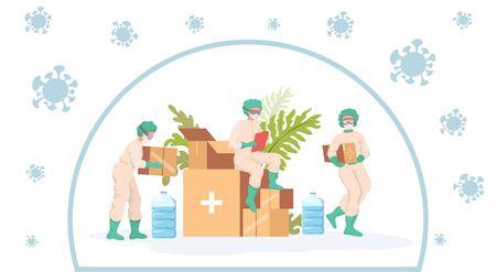 Medical workers take humanitarian aid during coronavirus outbreak vector flat cartoon illustration. Vecteurs