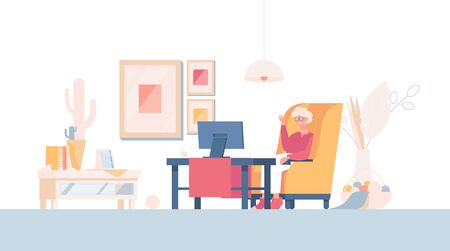 Happy old woman sits in armchair, talk via video conference, or watch TV vector flat cartoon illustration. Smiling woman in the living room. Grandmother relaxing at home, lifestyle concept.