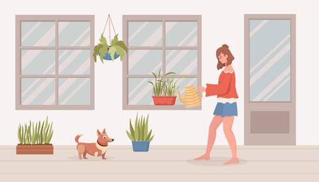 Woman watering house plants on balcony or in room. Modern interior vector flat cartoon illustration.