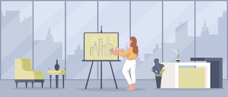 Artist draw skyline of town vector flat cartoon illustration. Girl stays at home or workshop studio and paint.