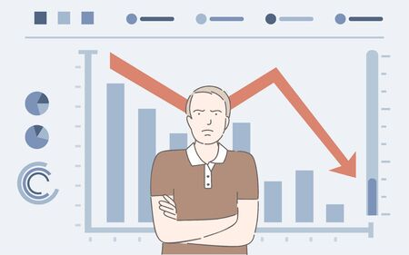 Man and falling bar graph vector cartoon illustration. Dissatisfied businessman, financial collapse, economic crisis.