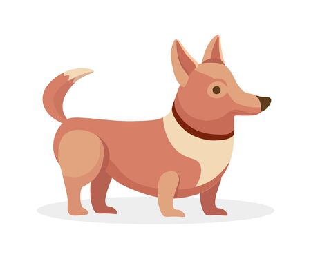 Cute little puppy dog pet vector flat cartoon illustration. Domestic funny animal, the portrait of a dog.