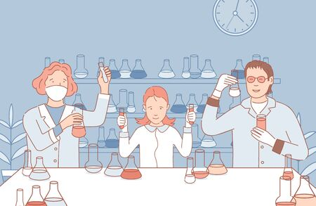People in the laboratory making chemical or medicine analysis vector cartoon outline illustration. Ilustración de vector
