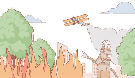 Firefighter trying to put out fire vector outdoor illustration. Fire plane extinguishes fire cartoon outline concept.