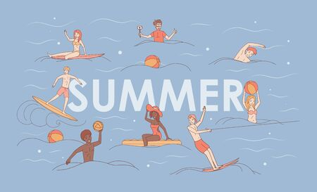 Summer vacation vector cartoon outline banner concept. Water sport and activity.