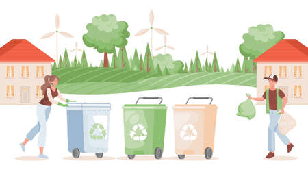 Man and woman putting garbage in containers vector flat illustration. Sorting and recycling waste concept.