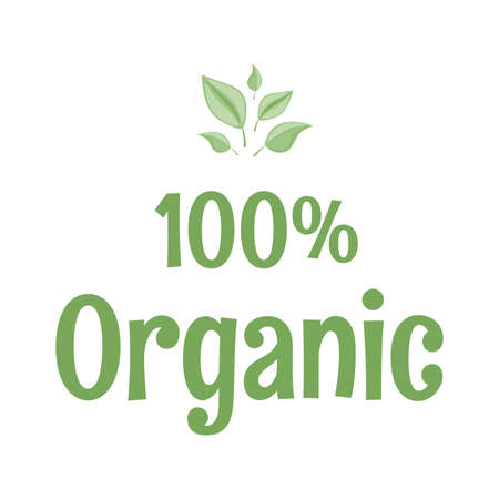 100 percent organic vector flat design. Eco-friendly lifestyle, environment preservation, ecology protection.