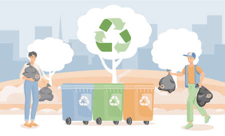 People putting garbage in containers vector flat illustration. Men practicing garbage collection, sorting, and recycling.