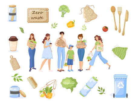Zero waste objects. People carrying recycling waste, natural products in eco bags vector flat illustration.
