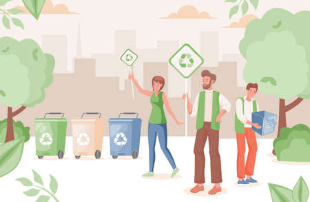 People in urban park recycling waste vector flat illustration. Man and woman hold placards with recycle sign.