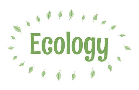 Ecology vector flat design. Eco-friendly lifestyle, environment preservation company label concept. 일러스트