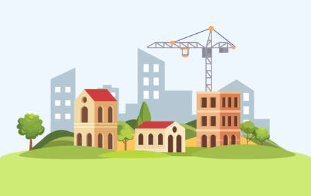 Construction crane builds houses on the background of the city vector flat illustration.Building process. Ilustracja