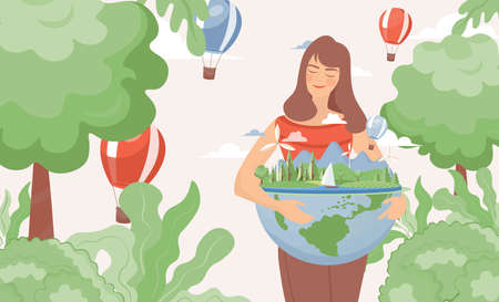 Woman hugging earth planet globe vector flat illustration. Earth day, world environment day, save the planet.