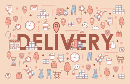 Delivery word banner template. Electronic commerce and online order vector cartoon outline concept.