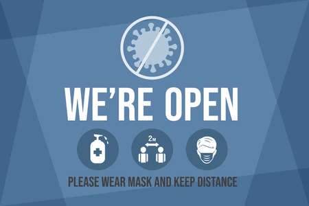 We are open, please wear protective face mask and keep safe social distance vector flat banner template.