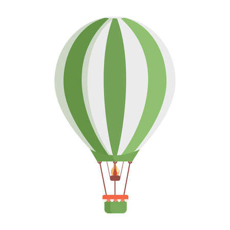 Hot air balloon with white and green stripes vector flat illustration isolated on white background. Ilustrace