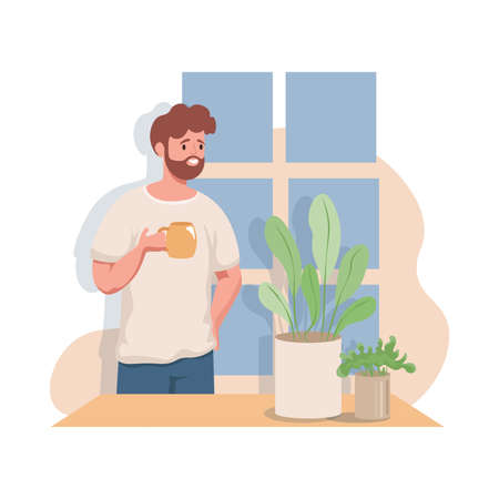 Man enjoying a hot morning cup of tea or coffee greeting a day vector flat illustration.