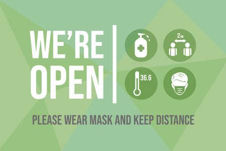 We are open after quarantine vector flat banner design. Preventive measures from Coronavirus outbreak. Vektorové ilustrace