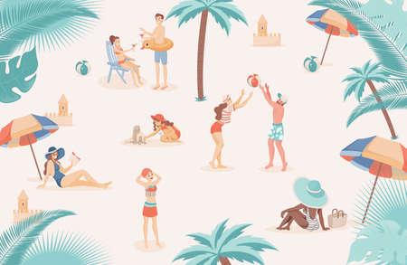 Happy people at beach relaxing, doing summer outdoor activities vector flat illustration. Vettoriali