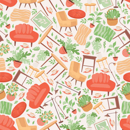 Cute home furniture, and household items, sofa, domestic plants, flowers in pots vector flat seamless pattern.