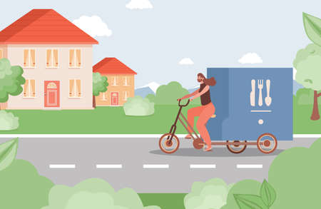 Online delivery service during Coronavirus outbreak vector flat concept. Woman driving truck with food. Illustration